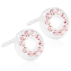 Blomdahls Örhängen utvecklade i samråd med hudläkare, i ren medicinsk plast med Swarovski-kristaller. Diameter 8 mm. färg Light Rose, Ljus rosa