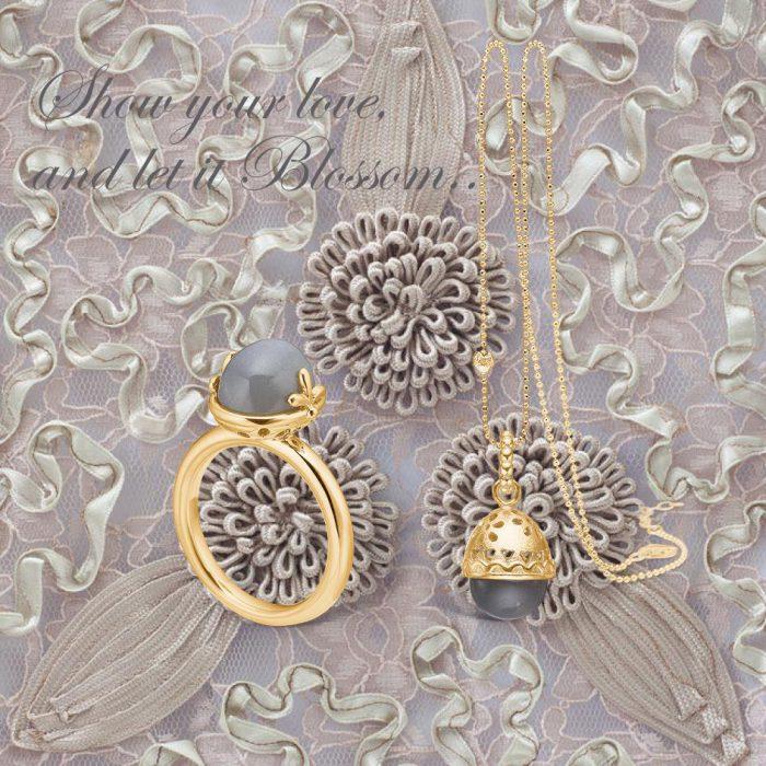 Blossom smycke i silver och förgyllt silver