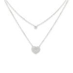 VJ halsband i Äkta silver med dubbla kedjor Ett Hjärta nederst med stenar