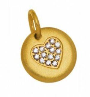 Edblad tagg stål guld hjärta smal