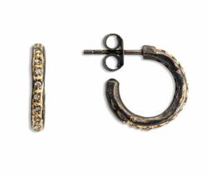 Örhänge Roman Hoop Creol Pavé Handgjort örhänge i 925 sterling med silver och 18 karat guld Diameter 15mm Med rose (0,25 ct) diamanter